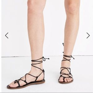 Madewell Boardwalk Lace-up Sandals in Black